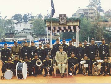 Brass Band of the Border Wing Battalion with Shri I.T.Longkumer,IPS,Director of Civil Defence Commandant General Home Guard,Meghalaya at the C.T.I Parade Ground