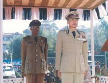 Shri I.T.Longkumer,IPS,Director of Civil Defence & Commandant General Home Guard,Meghalaya taking the salute during the Annual Day Parade